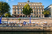 France, Paris, area listed as World Heritage by UNESCO, Paris Plage (Beach at Paris) 2015, Chatelet theater at the back