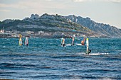 France, Bouches du Rhone, Marseille, windsurfing in the bay at the Pointe Rouge