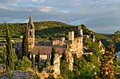 France, Gard, Aigueze, labeled Les Plus Beaux Villages de France (The Most Beautiful Villages of France), Medieval village perched above the Ardeche river