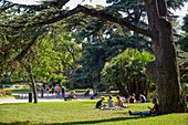 France, Haute Garonne, Toulouse, public garden of the Lawn, group of friends sat on a lawn surrounded with trees