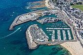 France, Loire Atlantique, La Turballe, the fishing harbour, the fish auction and the marina (aerial view)