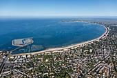 France, Loire Atlantique, Pornichet, the marina, the town and La Baule bay (aerial view)