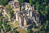 France, Lot et Garonne, Saint Front sur Lemance, Bonaguil castle (aerial view)