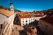Tourists walking on Stradun Street, Dubrovnik, Croatia