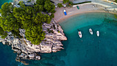Aerial view of coastline and boats,Brela, Croatia