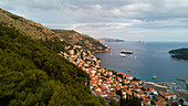 View of old town with coastline, Dubrovnik, Croatia