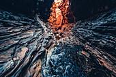 Rock formations in the Hancock Gorge in Karijini National Park in Western Australia, Australia, Oceania;