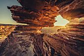 Sunrise at the Natures Window in Kalbarri in Western Australia, Australia, Oceania;