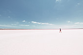 Male person walks on Pink Lake in Western Australia, Australia, oceans;