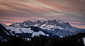 Mountains in the sunset in Fieberbrunn in the Wilder Kaiser at winter, Tyrol