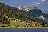 Mountains and settlement at Ybrig am Sihlsee, Einsiedeln Switzerland