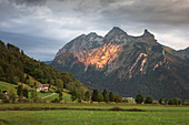 Dramatic clouds with sunlight on mountains at Ybrig am Sihlsee, Einsiedeln Switzerland
