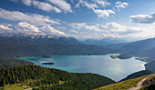 Panorama of the turquoise Walchensee, mountains and clouds, Jochberg in Bavaria
