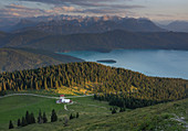 Jocheralm and Walchensee in sunset, mountains and clouds, Jochberg in Bavaria