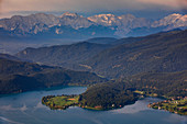 Walchensee with peninsular dwarfs and mountain backdrop in the morning sun from above, Bavaria