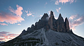 View of the east side of the Three Peaks in the Dolomites at sunset, South Tyrol