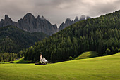 Church of St. Johann in St. Magdalena, in the Val Di Funes, Dolomites, Italy