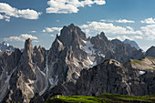 Mountain landscape in the Dolomites below the Lavardo hut at the Drei Zinnen a day, South Tyrol
