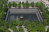 PERSPECTIVE OF ONE OF THE FOUNTAINS, 9/11 MEMORIAL, TERRORISM, FINANCIAL DISTRICT, MANHATTAN, NEW YORK CITY, NEW YORK, UNITED STATES, USA