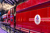 DETAIL OF THE HOGWARTS EXPRESS TRAIN, STUDIO TOUR LONDON, THE MAKING OF HARRY POTTER, WARNER BROS, LEAVESDEN, UNITED KINGDOM