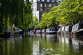 HOUSEBOATS, REGENT'S CANAL, LONDON, GREAT BRITAIN, EUROPE