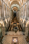 VIEW OF THE SAINT-ETIENNE ABBEY CHURCH SEEN FROM THE CHOIR LOFT WITH THE TOMB OF WILLIAM THE CONQUEROR, ABBAYE AUX HOMMES (MEN'S ABBEY) FOUNDED IN THE 11TH CENTURY BY WILLIAM THE CONQUEROR AND REBUILT IN THE 18TH CENTURY, CAEN (14), FRANCE