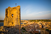 BARBEROUSSE TOWER, CHATEAU OF GRUISSAN, WITH VIEW OF THE VILLAGE, GRUISSAN, AUDE (11), FRANCE