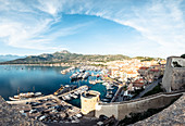 View from the citadel on Calvi, Corsica, France.