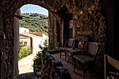 Terrace in Pigna near Calvi, Corsica, France