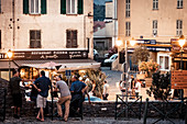 "In the evening, locals chat in Corte ""the secret capital of Corsica"", Corsica, France."