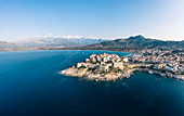 Aerial view of the citadel of Calvi, Corsica, France.