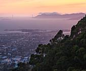 View from the Berkeley Hills onto the Golden Gate Bridge, San Francisco, California, USA