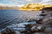 Citadel of Calvi in the evening light, Corsica, France