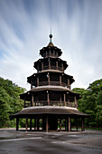 View of the Chinese tower in the English garden without people or beer bars, Muenchen; Bavaria; Germany; Europe