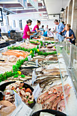 Fresh fish in the market hall Les Halles, Redon, Ille-et-Vilaine department, Brittany, France, Europe