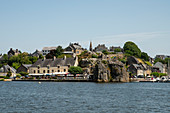 View over the Vilaine to the old town with the port of La Roche-Bernard, Morbihan department, Brittany, France, Europe