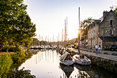 Sunset in the marina of La Roche-Bernard, Vilaine, Morbihan department, Brittany, France, Europe