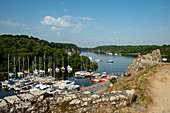 View from rocky coast down to the marina and the Vilaine river, La Roche-Bernard, Vilaine, Morbihan department, Brittany, France, Europe