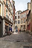 Historic alley in the city center with young people, Rennes, D? Partement Ille-et-Vilaine, Brittany, France, Europe