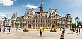 Summer panorama from Hotel De Ville, the largest city hall in Europe, Paris, France, Europe