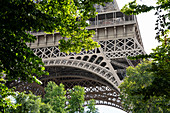 Detail of the steel structure from the Eiffel Tower framed by green leaves, Paris, France, Europe