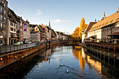 View of canal in Petite France with two swans in autumn sunshine, Strasbourg, Alsace-Champagne-Ardenne-Lorraine, France, Europe
