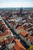 View from the tower of the St. Jacobi church to the old town with St. Johannis, G? Ttingen, Lower Saxony, Germany, Europe