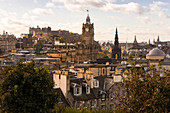 View from Calton Hill towards Edinburgh Castle and Balmoral Hotel with its clock tower, Edinburgh, Scotland, Great Britain, United Kingdom