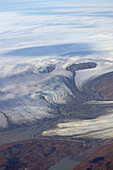 Ice sheet in West Greenland; taken from the airplane; Foothills of the inland ice; Glacier tongue pushes into a fjord;