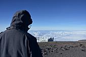 Kilimandscharo, angekommen auf dem Gipfel, Ausblick auf den Gletscher