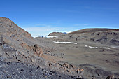 View from Uhuru Peak on the remains of the Furtwängler glacier; Volcanic landscape; melting glaciers; Lava rock
