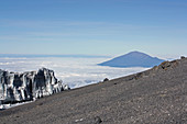 Summit of Kilimanjaro; View of glaciers and the top of Mount Meru
