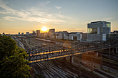 Elevated view from the south-east of Hackerbruecke and Gleise in Muenchen, Bavaria, Germany, Europe