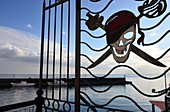 Pirate sign at the old port of Lipari, Aeolian Islands, southern Italy